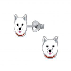Wholesale Silver Huskey Stud Earrings
