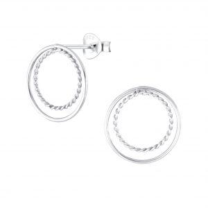 Wholesale Silver Double Ring Stud Earrings