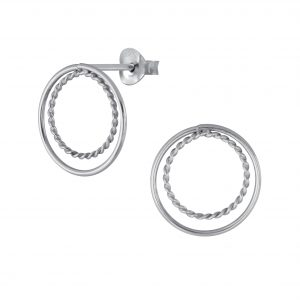 Wholesale Silver Double Ring Stud Earrings