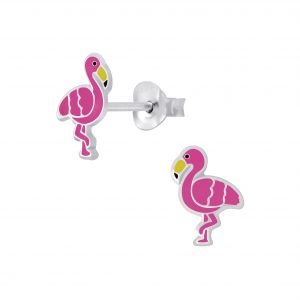 Wholesale Silver Flamingo Stud Earrings