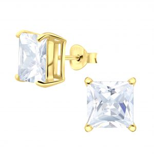 Wholesale 8mm Square Cubic Zirconia Silver Stud Earrings