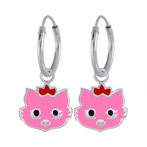 Wholesale Silver Cat Earrings Charm Hoop