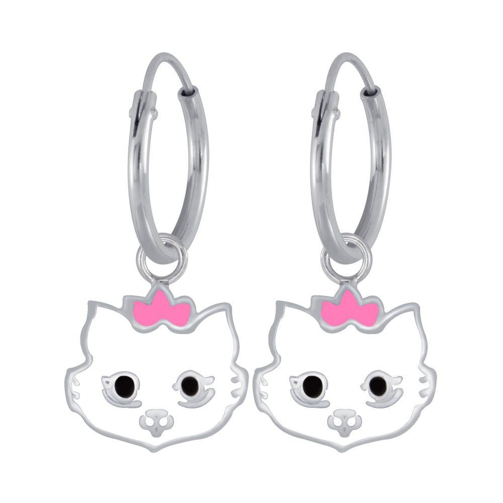 Wholesale Silver Cat Earrings Charm Hoop