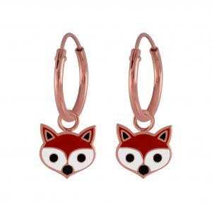 Wholesale Silver Fox Earrings Charm Hoop