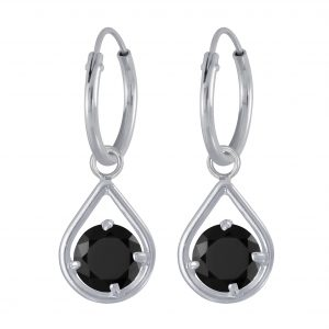 Wholesale Silver Tear Drop Charm Hoop Earring