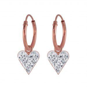 Wholesale Silver Heart Crystal Charm Hoop Earrings