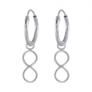 Wholesale Silver Infinity Charm Hoop Earrings