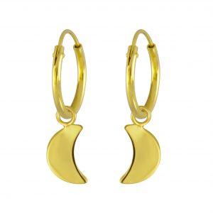Wholesale Silver Moon Charm Hoop Earrings