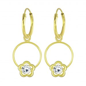Wholesale Silver Flower Wire Crystal Charm Hoop Earrings