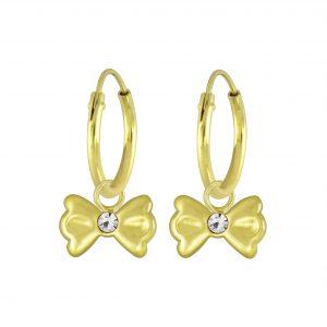 Wholesale Silver Bow Charm Hoop Earrings
