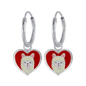 Wholesale Silver Llama Charm Hoop Earrings