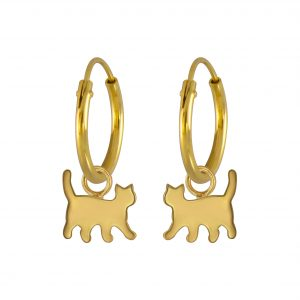 Wholesale Silver Cat Charm Hoop Earrings