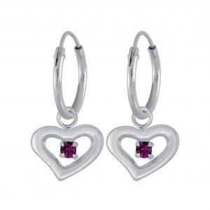 Wholesale Silver Heart  Earrings  Charm Hoop
