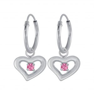 Wholesale Silver Heart  Earrings  Charm Hoop
