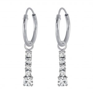 Wholesale Silver Bar Charm Hoop Earrings