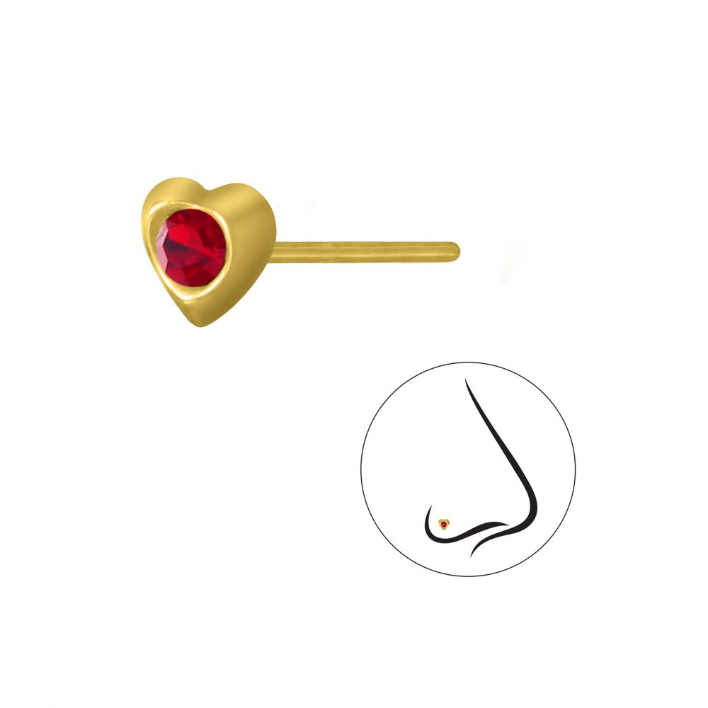 Wholesale Silver Heart Crystal Nose Stud