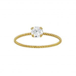 Wholesale Silver Twisted Band Solitaire Ring