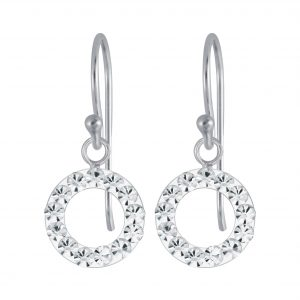 Wholesale Silver Crystal Circle Earrings