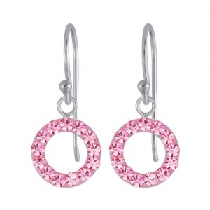 Wholesale Silver Crystal Circle Earrings