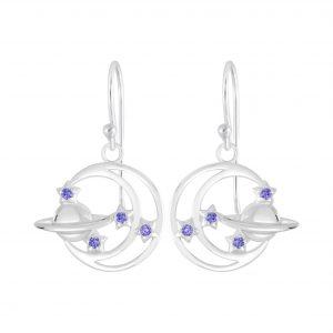 Wholesale Silver Planet Earrings