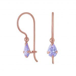 Wholesale 4X6mm Pear Cubic Zirconia Silver Earrings