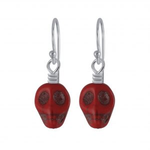 Wholesale Silver Handmade Skull Bead Earrings