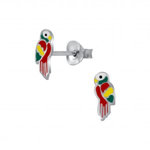 Wholesale Silver Parrot Stud Earrings