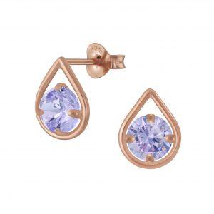 Wholesale Silver Tear Drop Cubic Zirconia Stud Earrings