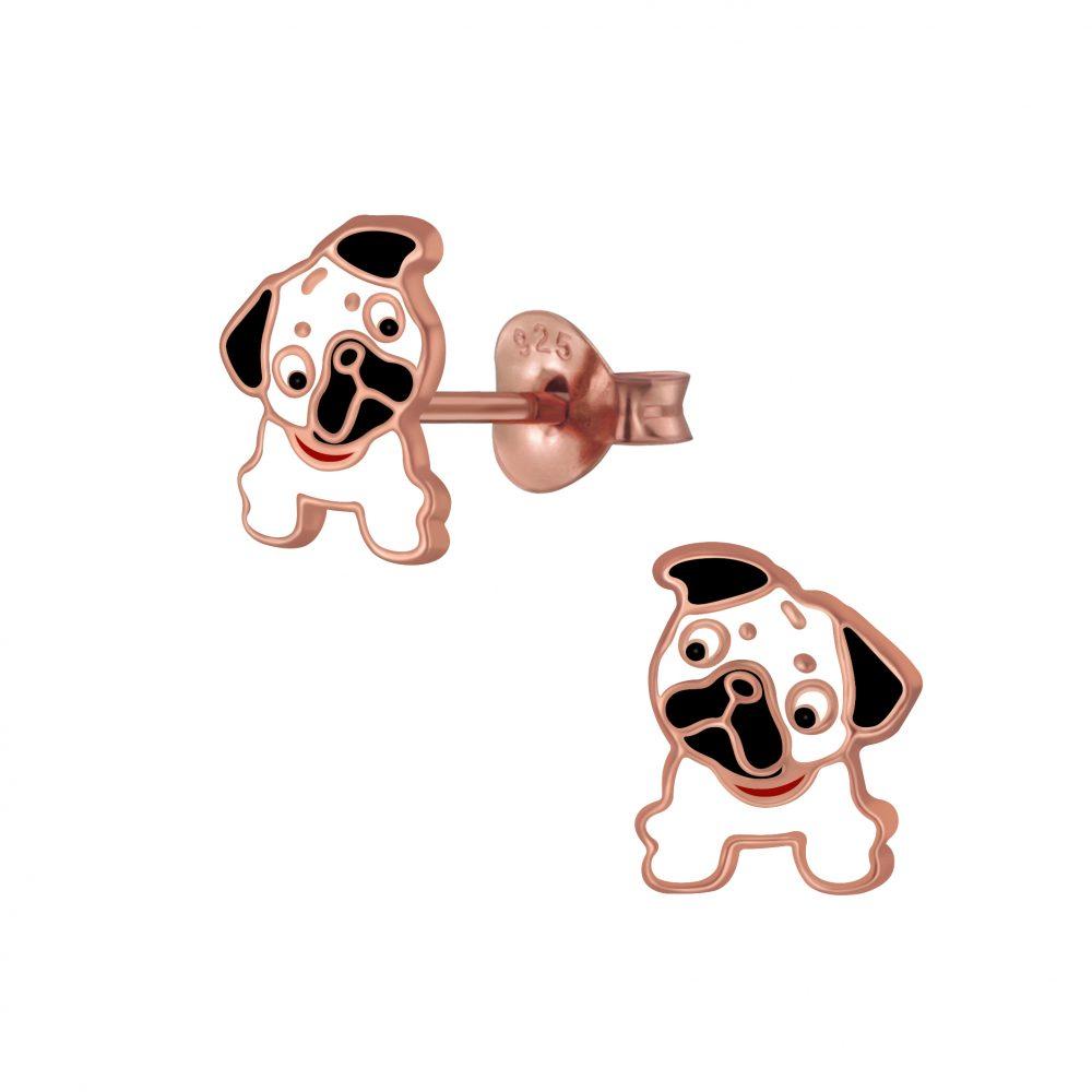 Wholesale Silver Bulldog Stud Earrings