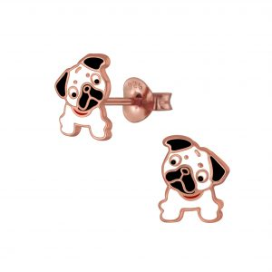 Wholesale Silver Bulldog Stud Earrings