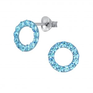 Wholesale Silver Crystal Circle Stud Earrings