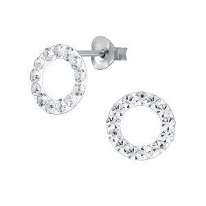 Wholesale Silver Crystal Circle Stud Earrings