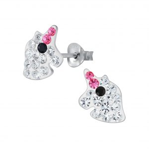 Wholesale Silver Unicorn Crystal Stud Earrings