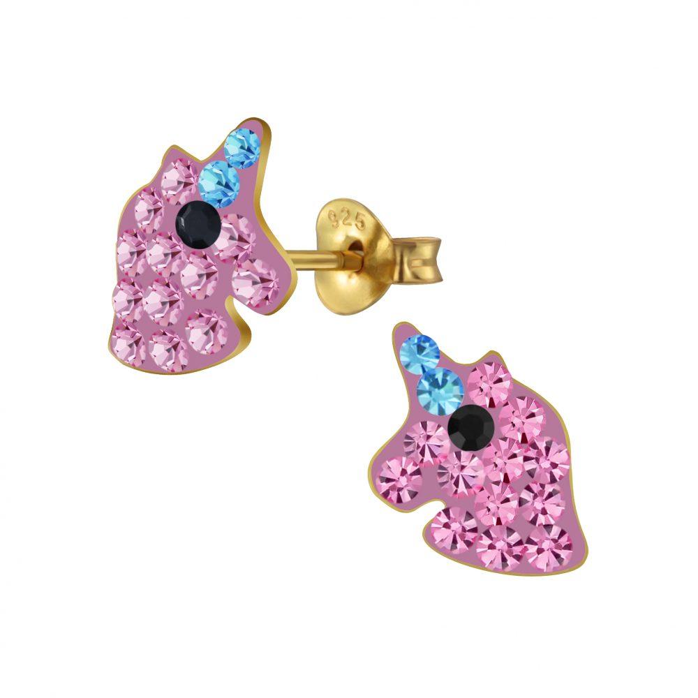 Wholesale Silver Unicorn Crystal Stud Earrings