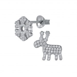 Wholesale Silver Reindeer and Snowflake Stud Earrings