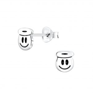 Wholesale Silver Smiley Face Stud Earrings