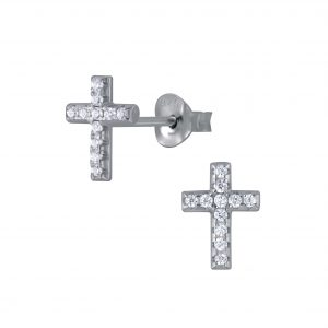 Wholesale Silver Cross Stud Earrings