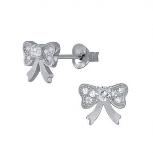 Wholesale Silver Bow Stud Earrings