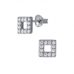 Wholesale Silver Square Stud Earrings