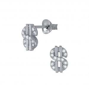 Wholesale Silver Dollar Sign Stud Earrings