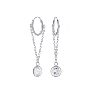 Wholesale Silver Round Cubic Zirconia Charm Hoop Earrings