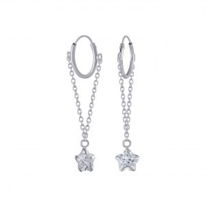 Wholesale Silver Flower Cubic Zirconia Charm Hoop Earrings