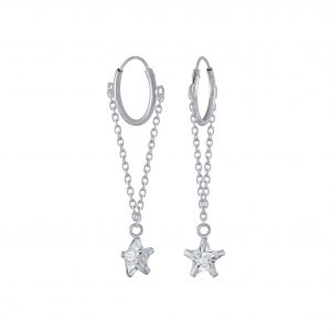 Wholesale Silver Star Cubic Zirconia Charm Hoop Earrings