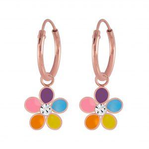 Wholesale Silver Flower Crystal Hoop Earrings
