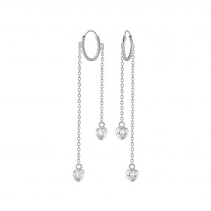 Wholesale Silver Heart Cubic Zirconia Charm Hoop Earrings