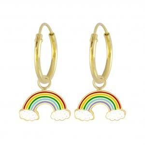 Wholesale Silver Rainbow Charm Hoop Earrings