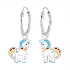 Wholesale Silver Unicorn Hoop Earrings