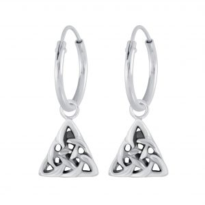 Wholesale Silver Celtic Triangle Charm Hoop Earrings