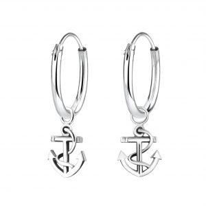 Wholesale Silver Anchor Charm Hoop Earrings