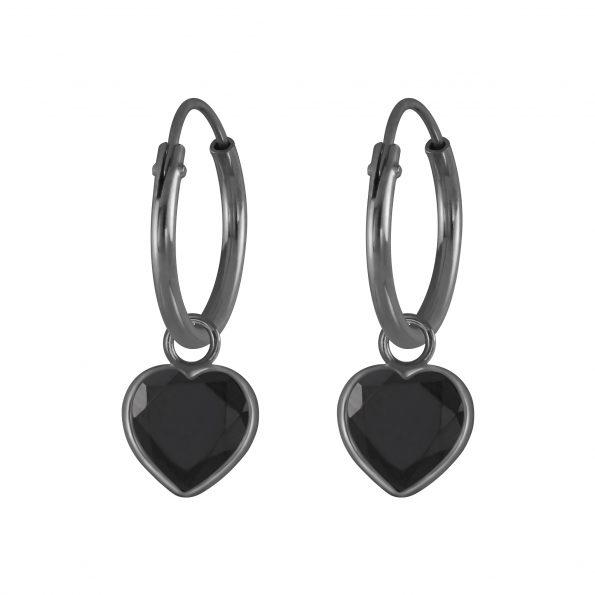 Wholesale 6mm Heart Cubic Zirconia Silver Charm Hoop Earrings